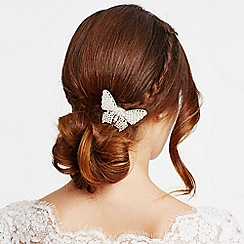 Jon Richard - Mini pearl and crystal butterfly hair barrette