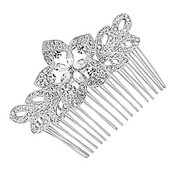 Jon Richard - Crystal embellished navette flower hair comb