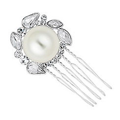 Jon Richard - Pearl and crystal cluster mini hair comb