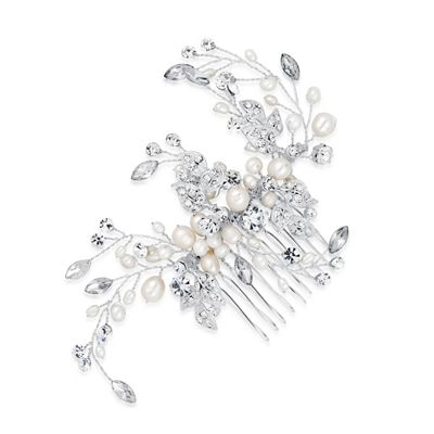 Alan Hannah Devoted Designer blossom freshwater pearl and crystal comb - . -
