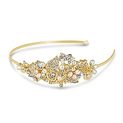 Jon Richard - Online exclusive freshwater pearl gold wrap headband