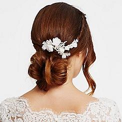 Alan Hannah Devoted - Designer silk flower and crystal leaf hair comb