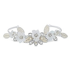 Jon Richard - Online exclusive pearl set leaf and crystal flower tiara