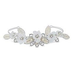 Jon Richard - Online exclusive pearl set leaf and crystal flower tiara