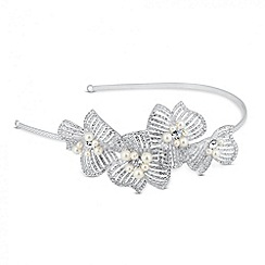 Jon Richard - Statement 3-d pearl and diamante flower headband
