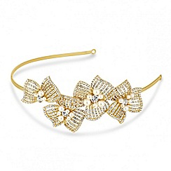 Jon Richard - Pearl and crystal 3-d gold flower headband