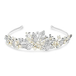 Jon Richard - Freshwater pearl and crystal leaf hand wrapped tiara