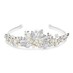 Jon Richard - Freshwater pearl and crystal leaf hand wrapped tiara