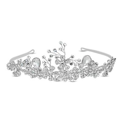 Alan Hannah Devoted Designer crystal peardrop and floral spray tiara - . -