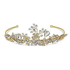 Jon Richard - Online exclusive crystal peardrop and floral spray tiara