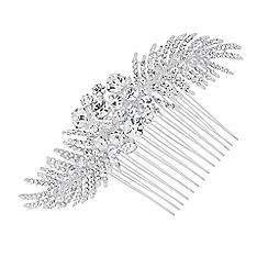Alan Hannah Devoted - Designer crystal leaf spray hair comb