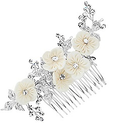 Alan Hannah Devoted - Designer crystal and silk flower hair comb