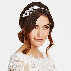 Alan Hannah Devoted - Designer pearl and crystal flower textured leaf headband