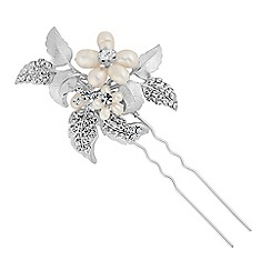 Alan Hannah Devoted - Designer pearl and crystal leaf hair pin