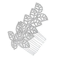 Jon Richard - Diamante crystal embellished leaf hair comb