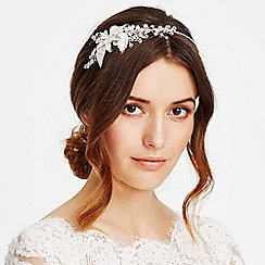 Jon Richard - Online exclusive crystal flower and leaf side headband
