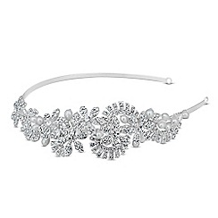 Jon Richard - Crystal pearl flower and textured leaf side headband