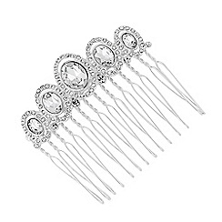 Jon Richard - Oval stone crystal surround hair comb