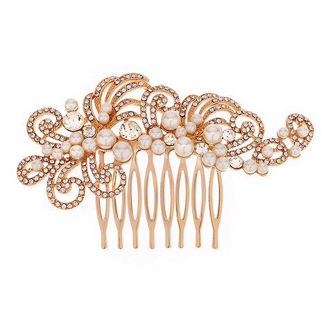 Jon Richard - Pearl and crystal rose gold swirl hair comb