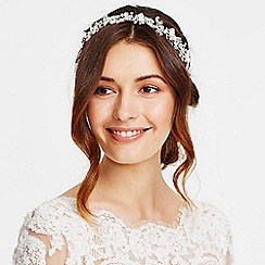 Jon Richard - Statement crystal leaf and bead drop halo hair piece