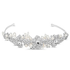Jon Richard - Crystal embellished floral and pearl spray tiara