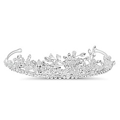 Jon Richard - Crystal floral and facet bead spray tiara