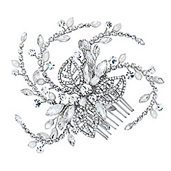 Jon Richard - Diamante crystal leaf and freshwater pearl swirl comb