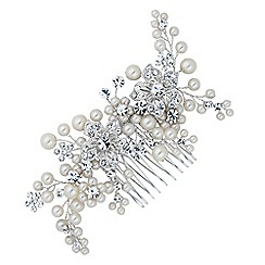Jon Richard - Crystal flower and pearl hand wrapped hair comb