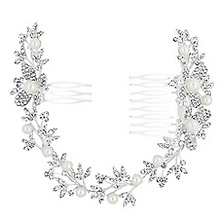 Jon Richard - Pearl and crystal butterfly halo double hair comb