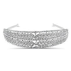 Jon Richard - Crystal embellished leaf double row headband