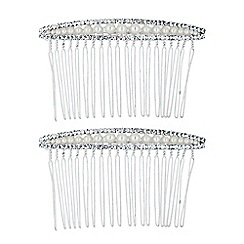Jon Richard - Set of two pearl and crystal surround top hair combs