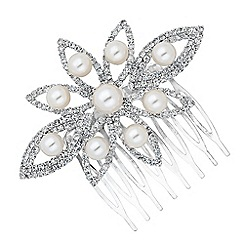 Jon Richard - Pearl and diamante crystal daisy hair comb