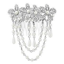 Jon Richard - Vintage style pearl flower tassel hair comb