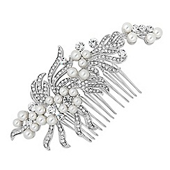 Jon Richard - Pearl and crystal swirl vintage effect hair comb