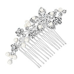 Jon Richard - Pearl and crystal cluster flower hair comb