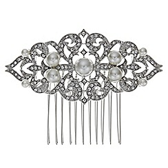 Jon Richard - Vintage pearl crystal scroll comb