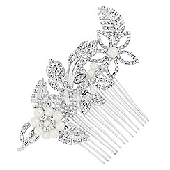 Alan Hannah Devoted - Designer pearl flower and crystal leaf hair comb
