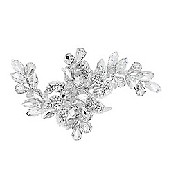 Alan Hannah Devoted - Designer crystal leaf and navette flower hair slide