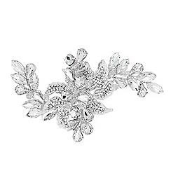 Alan Hannah Devoted - Designer crystal leaf and navette flower hair slide