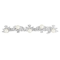 Alan Hannah Devoted - Designer pearl and cubic zirconia floral hair slide