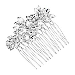 Alan Hannah Devoted - Designer silver crystal cluster hair comb
