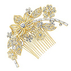 Jon Richard - Gold floral crystal hair comb