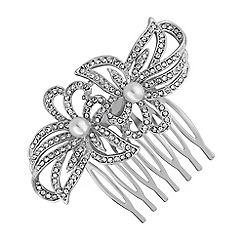 Jon Richard - Silver double flower hair comb