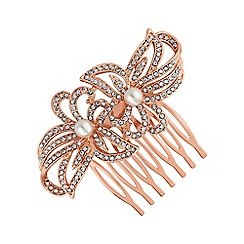 Jon Richard - Rose gold double flower hair comb