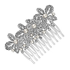Jon Richard - Crystal flower and pearl hair comb
