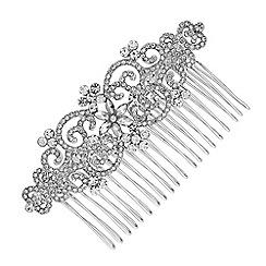 Jon Richard - Silver crystal filigree hair comb
