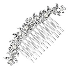 Jon Richard - Curved floral crystal hair comb