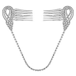 Jon Richard - Silver swirl double hair comb
