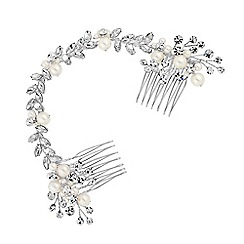 Jon Richard - Silver crystal double hair comb