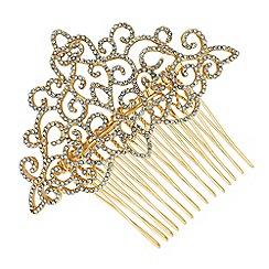 Jon Richard - Gold crystal filigree hair comb